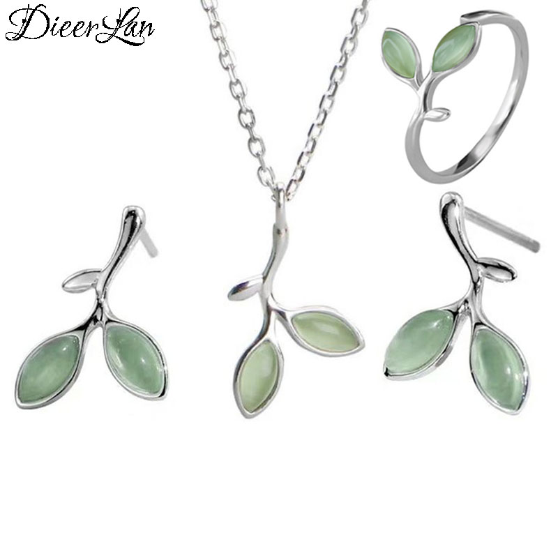 DIEERLAN Romantic Opal Jewelry Sets 925 Sterling Silver Sweet Leaf Choker Necklaces Ring Earrings For Women Statement Jewelry