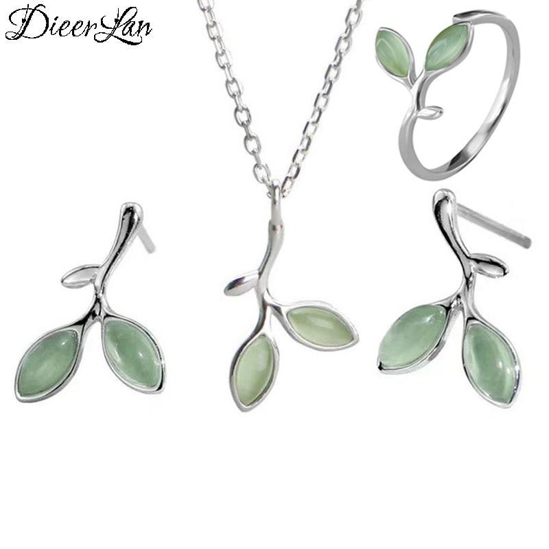 DIEERLAN Romantic Opal Jewelry Sets 925 Sterling Silver Sweet Leaf Choker Necklaces Ring Earrings For Women Statement Jewelry