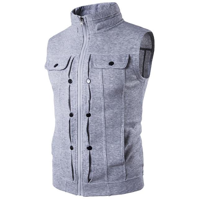 Spring Men Sleeveless Jacket New Vest Waistcoat Stand Collar Casual Male Coats Slim Fit Menswear Outwear 4 Colors Streetwear Z10