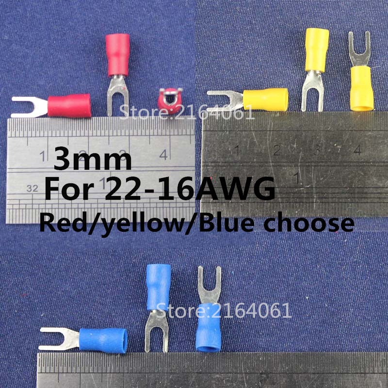 Red Blue Yellow 6.4mm Insulated Copper Crimp Ring Hoop Terminal Connector Wire