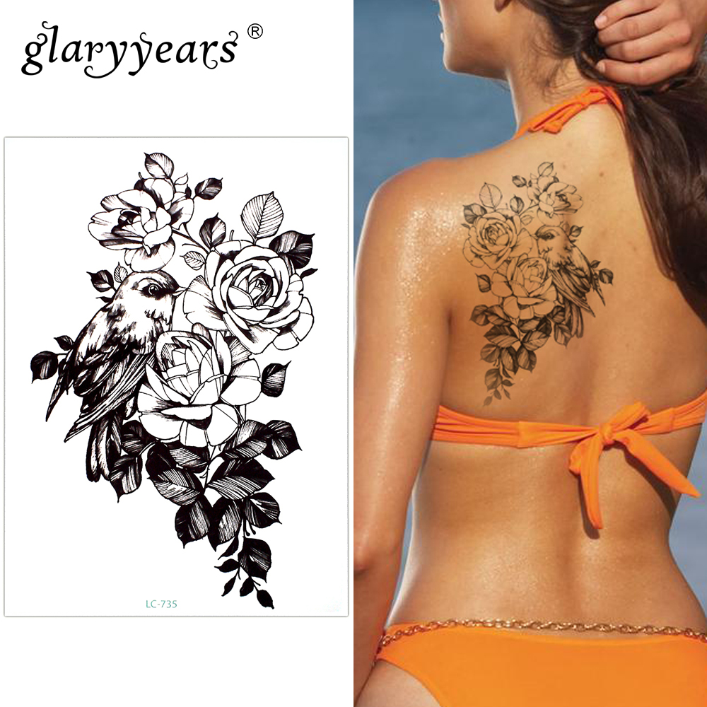 Glaryyears A Bit Big Arm Temporary Tattoo Sticker Flower and Bird Fake Tatoo Sleeve Flash Tatto Waterproof Body Art Women LC-735