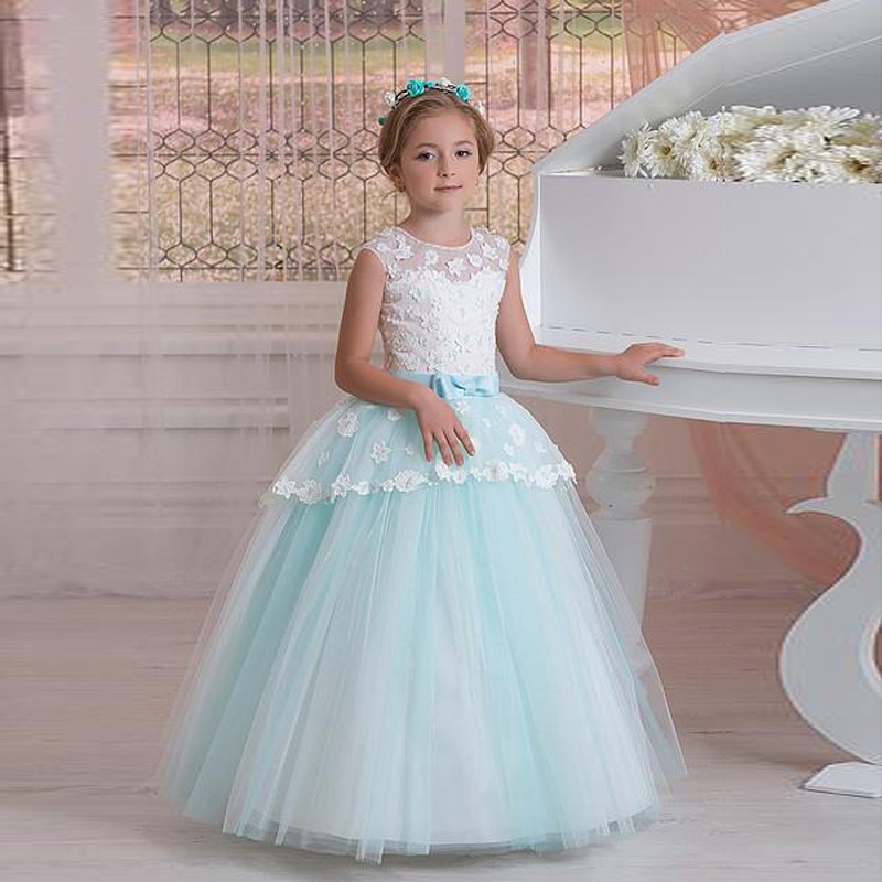 floor length appliques flower girl dresses ball gown kids wedding pageant party gowns tulle mother daughter dresses for girls Lovely Appliqued Flower Girl Dresses For Wedding Tulle Ball Gown Pageant Dress Floor Length Mother Daughter dresses With Sashes