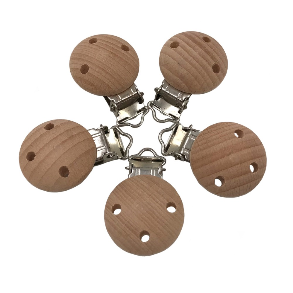 1pc Beech Wood Baby Pacifier Clips , Natural Wooden Pacifier Holders No Paint ,BPA FREE Baby Clips Pacifier Holder