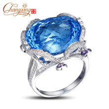 NEW!! SOLID 14K WHITE GOLD NATURA DIAMOND & 23.1CT FLAWLESS BLUE TOPAZ RING