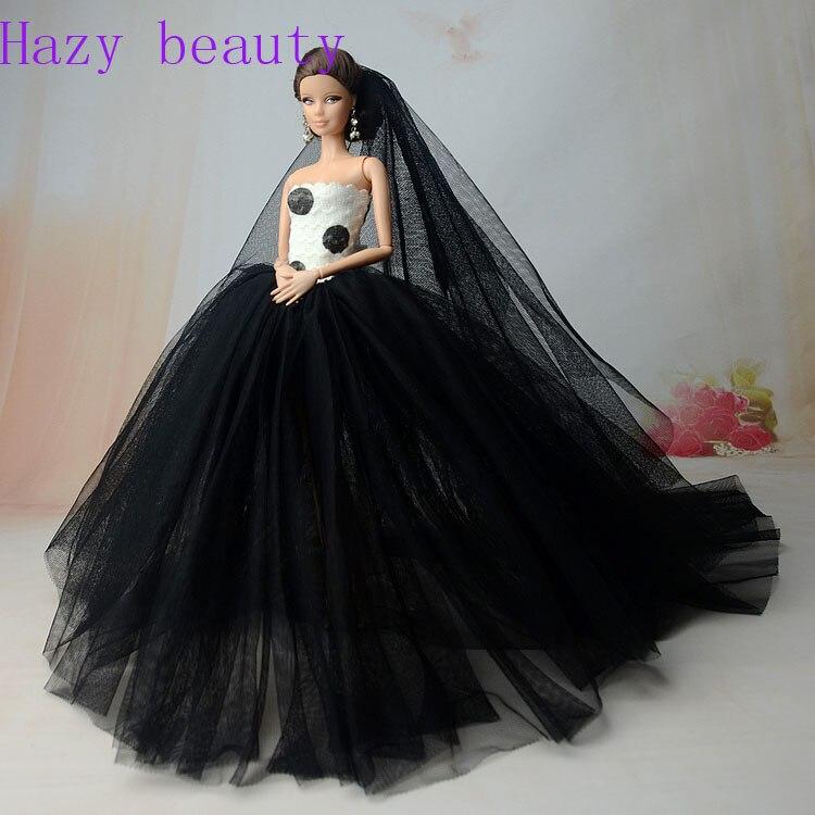 hazy beauty doll accessories doll dress black wedding dress for barbie dolls bbi203