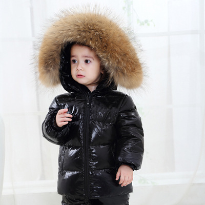 FTLZZ Winter Shiny Coat Kids Real Large Raccoon Fur Collar Duck Down Jacket Baby Boy Girl Thicken Snow Down Parkas furlove new real large raccoon fur winter coat women jacket coats collar thicken warm padded cotton lady parkas female jacket