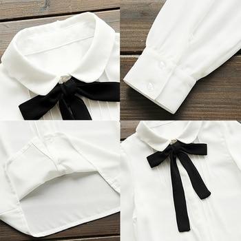 Fashion Women Elegant Bow Tie White Blouses Chiffon Casual Shirt Office Ladies Tops School Blusas Female Clothing new 10
