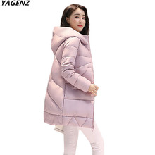 2017 Women Jackets Winter Parkas Female Warm Thicken Middle-Long Hooded Jacket Coat Cotton Padded Parkas Coat M-XXL YAGENZ K676