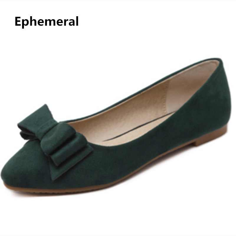 0f3ba4c6d4c7 Female Bow Flats Plus size 34-48 Driving Shoes For Women TPR Soft Sole  Nubuck