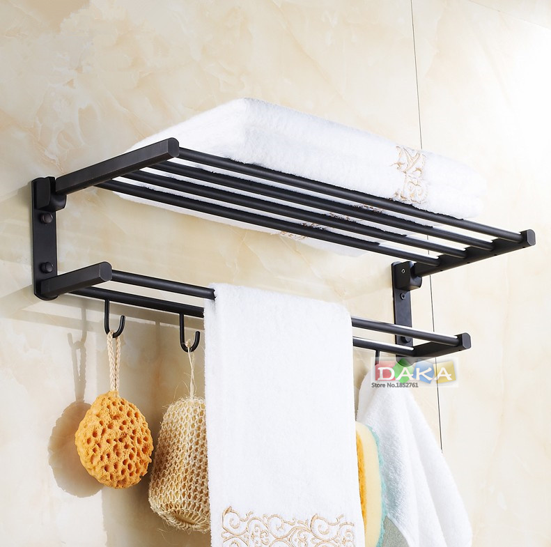 ჱfashion Antique Brass Black Towel Rack Bathroom Luxury