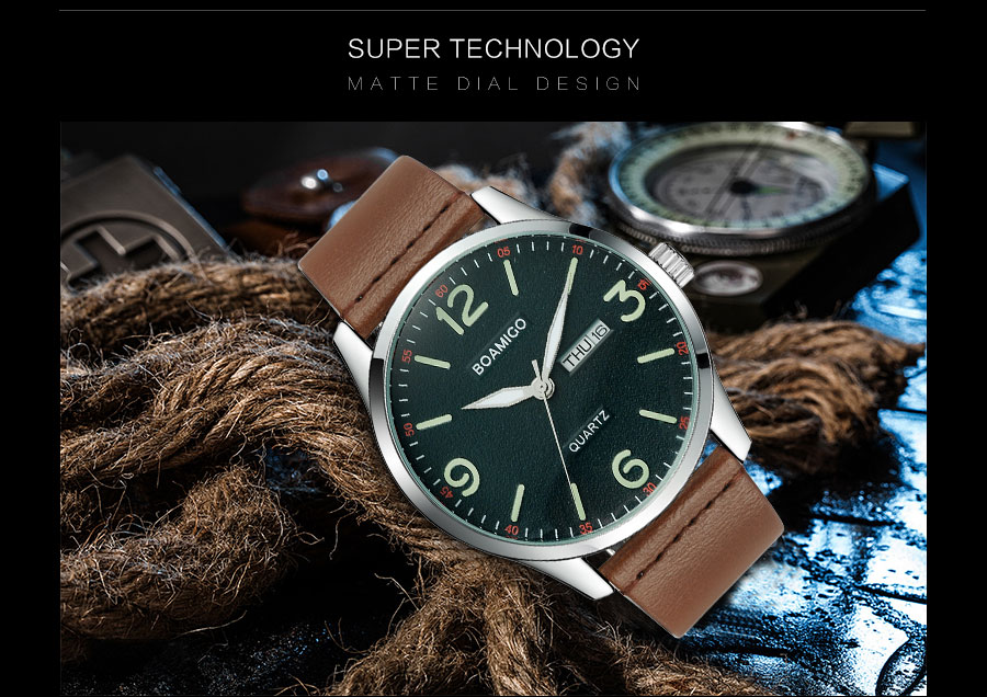 IsMyStore: 2019 boamigo top luxury brand men military fashion sport business quartz watch man casual brown leather wristwatches waterproof