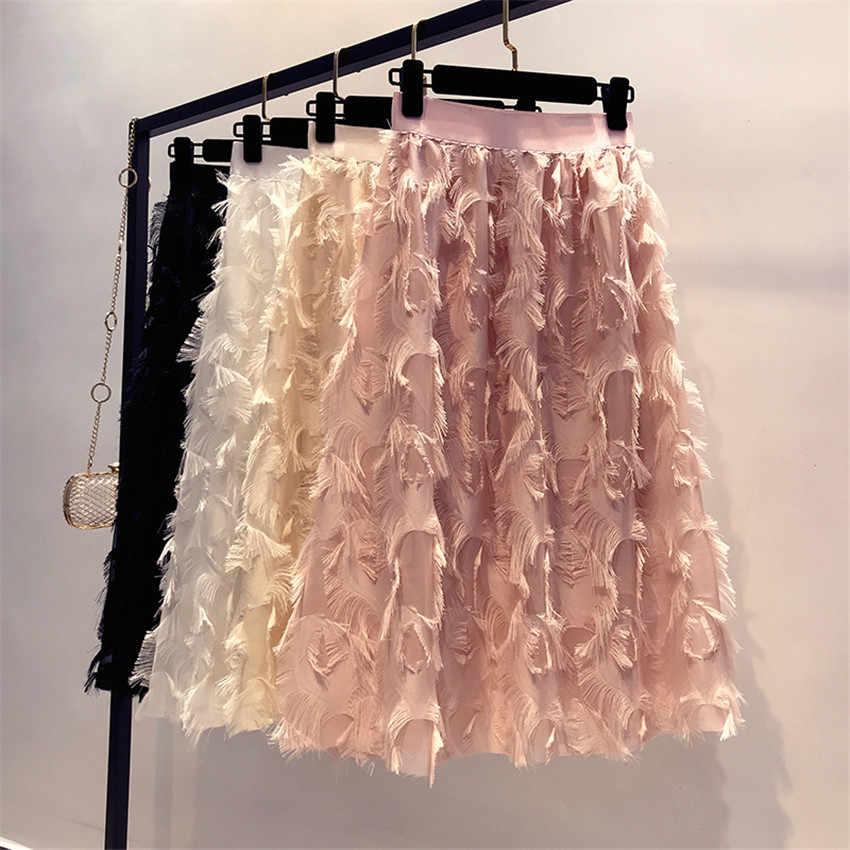 Duży rozmiar jesień w stylu Vintage kobiety różowy Tassel spódnice Sweety dziewczyna elastyczny pas spódnica szyfonowa Midi długie Lady-line spódnica Femme WZ672