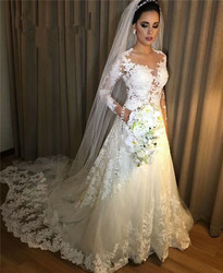 HT001 Cheap Vestido de noiva Sexy Nude Sheer Long Sleeves Lace A Line Wedding Dress 2018 Robe de mariee  Custom Made 2