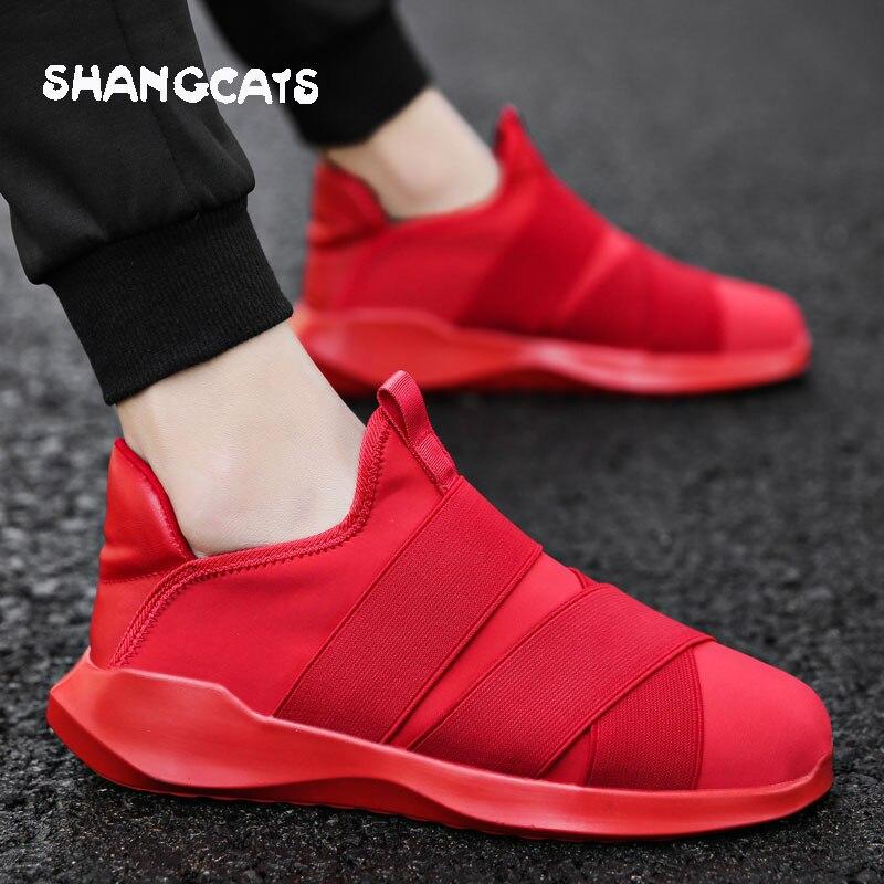 men shoes plus size zapatos de hombre sneakers men slip on Vulcanized shoes casual sneakers shoes solid color original brand casual men s plus size solid color button down shirt