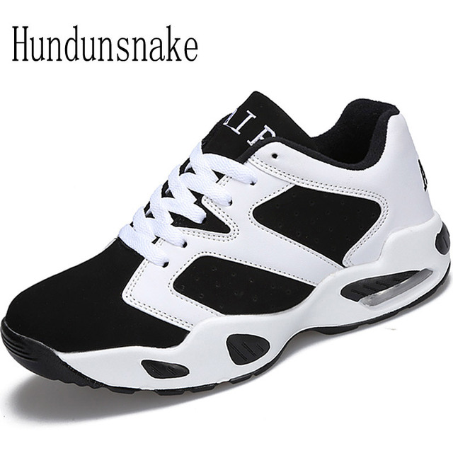 Hundunsnake Leather Sneakers Women Black Cushioning Running Shoes For Men 2018 Ladies Shoes Sports Female Krasovki Gumshoes T119
