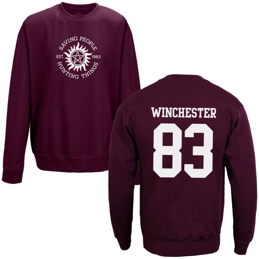 Team Sam Winchester 83 79 Sweatshirt Supernatural Saving People Hunting Things O Neck Long Sleeve Sweatshirts Brand Clothing Top