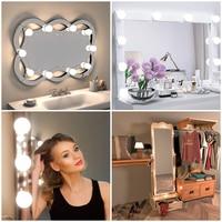 Led Vanity Mirror Makeup Light USB LED 12V Makeup Lamp 10 Bulbs Kit For Dressing Table Stepless Dimmable Vanity Mirror Light 8W