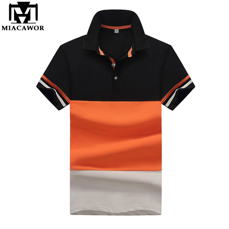 MIACAWOR 2018 New Men   Polo   Shirt Cotton Summer Short-sleeve   Polo   Homme Patchwork Casual Men Camisa   Polo   Masculina MT600