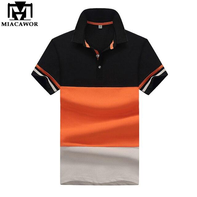 9bacbb38cd MIACAWOR 2018 Nova Camisa Polo Dos Homens do Algodão Verão Curto-luva Polo  Homme Patchwork