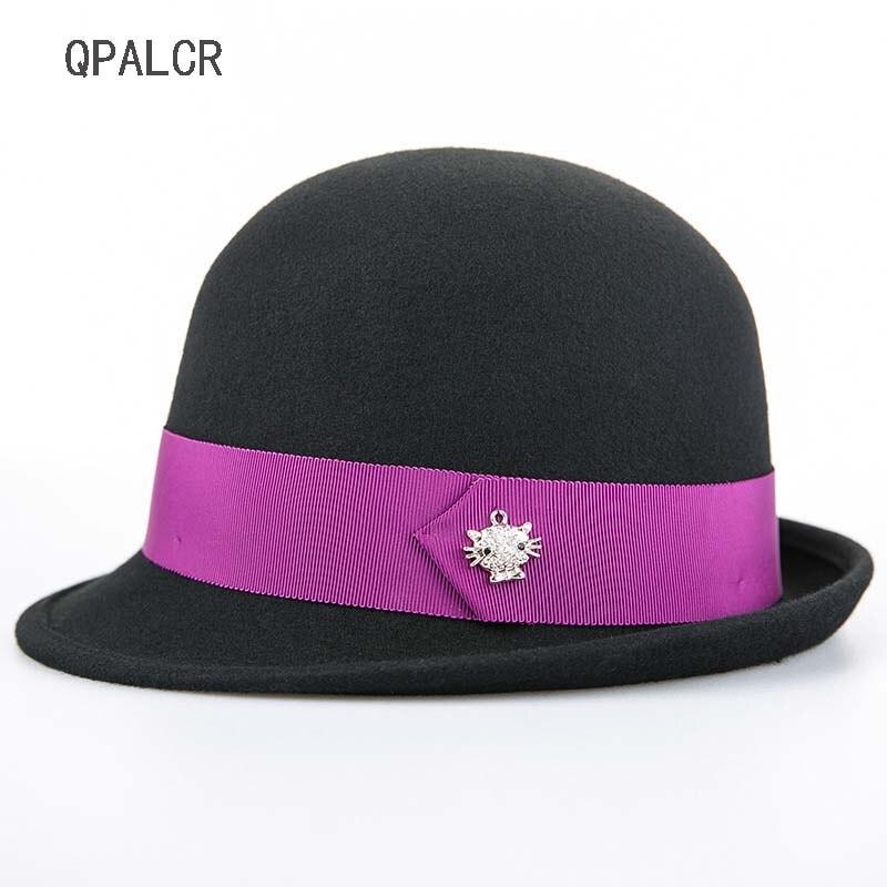 QPALCR hiver laine Fedoras chapeaux pour femmes rétro décontracté feutre chapeau mode noir église casquette Fascinator femelle dôme chapeau haut-de-forme