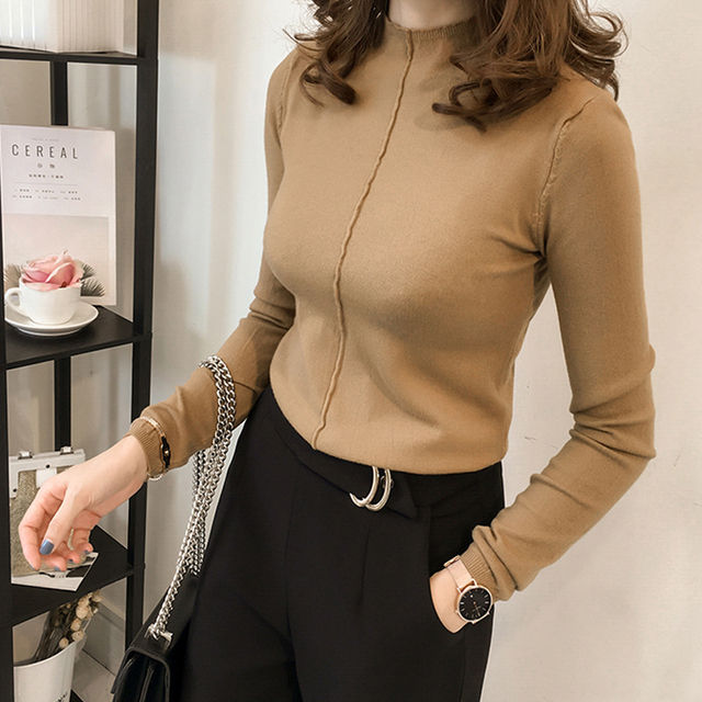 Autumn Winter 2017 Women Sweaters And Pullovers Clothing Casual Knitted Women Tops Long Sleeves Basic Sweaters For Women C7N605A 4