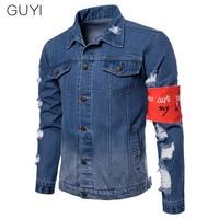 GUYI Ripped Hole Armband Denim Jackets Men Pocket Washed Slim Outerwear&Coats Fashion Casual Streetwear Jackets