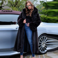 Furealux Winter New Fashion Slim Mink Coat With Scorpion Fur Cuff Fox Fur Cuff Coat Women Fur Coats Long Mink Fur