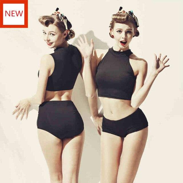 9d6bdb34ee31f Two Pieces Swimwear Women Vintage Junior Girls Swimsuit With Skirt Graffiti Bikini  Bathing Suit Hot Spring