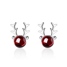 XIYANIKE New Elegant Hot Sale Xmas Fashion Christmas Garnet Deer Earrings Stud fashion Jewelry for Women Christmas Gift VES6125(China)