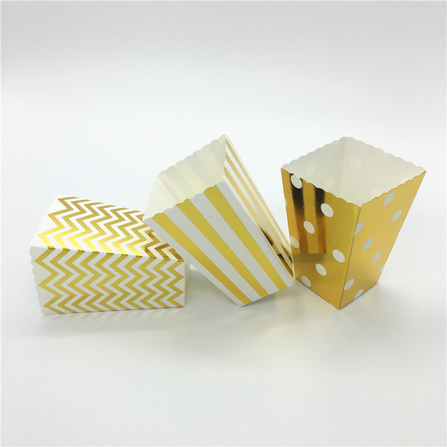 gold silver wave circles folding candy popcorn boxes birthday