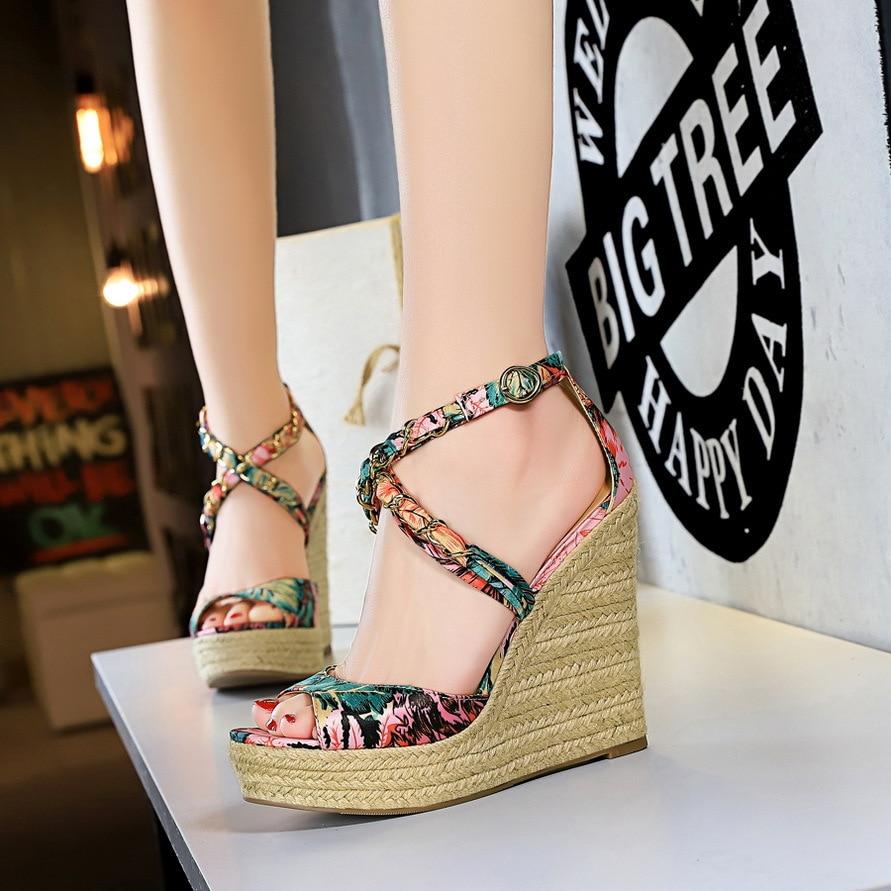 Sandals Footwear Shoes Print-Platform Summer Wedges High-Heels Female Women Fashion Super