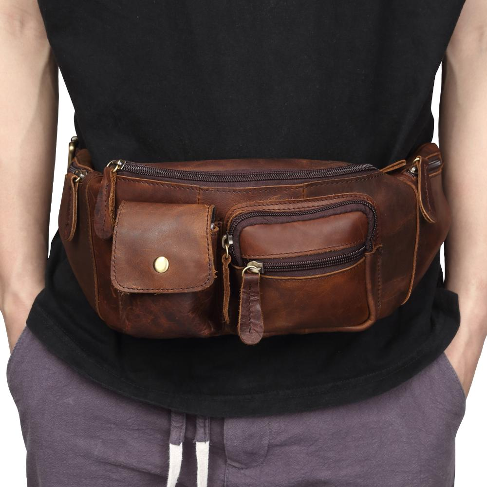 Wholesale New Arrival Genuine Leather Chest Bags Leather Bag Belt Men Phone Pouch Bags Travel Waist Pack Male Waist Bag Belt