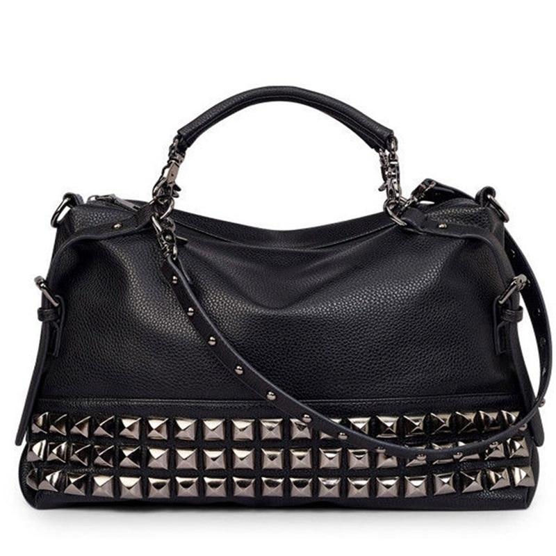 Women Modern Punk Pu Leather Cross Body Rivet Top-Handle Shoulder Bags Hobo Tote Satchel Handbags For Lady(Black)