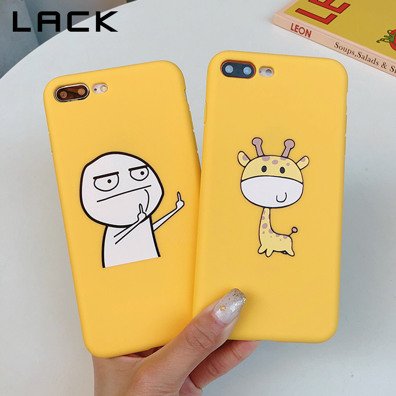 LACK Cartoon Giraffe Phone <font><b>Case</b></font> For Apple <font><b>iphone</b></font> X XS Max XR 6S 6 7 <font><b>8</b></font> Plus Cute Lazzy <font><b>Cat</b></font> Middle Finger Cover Soft TPU <font><b>Cases</b></font> image