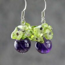 Natural amethyst earrings for women original design fashion crystal earrings accessories for women