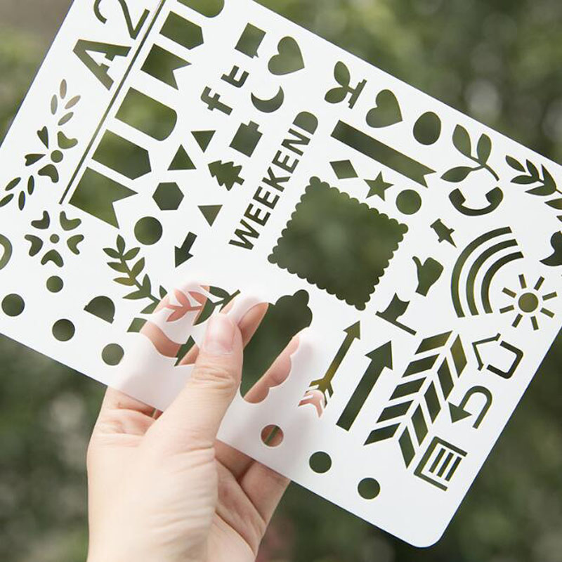 1pc Stencil Bullet Journal 21*14.5cm Large Size Stencil Number Letter Painting Template Ruler Diy Album Drawing Ruler Stationery
