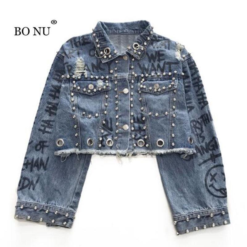 BONU Autumn Spring Short Denim Jacket for women Loosen embroidery Light Blue Jean Jackets casaco feminino chaqueta mujer