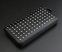 Men Luxury Genuine Leather Wallet Rock Punk Style Black And White Color Rivets Around Long Purse