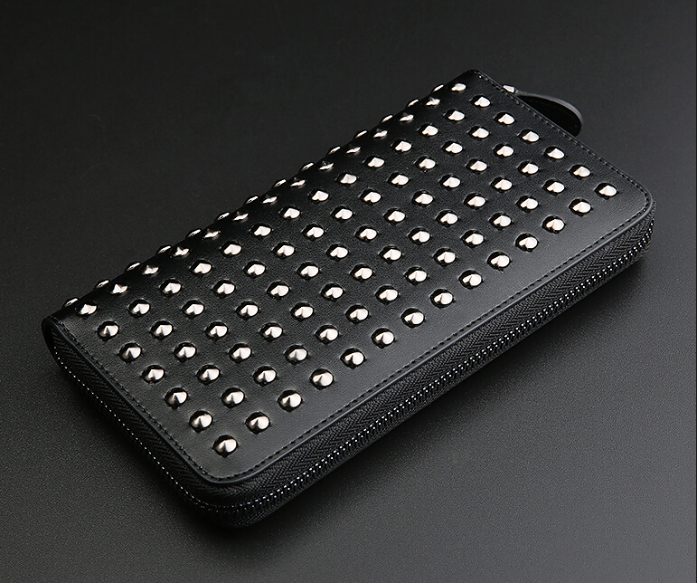 Men Luxury Genuine Leather Wallet Rock Punk Style Black and White Color  Rivets Around Long Purse Capacity for iPhone 7 7S Plus lorways 016 stylish check pattern long style pu leather men s wallet blue coffee