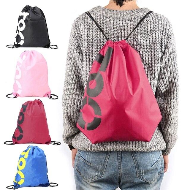 NoEnName_Null mochila de compras bolsas con cordón impermeable viaje playa gimnasio zapatos deportes Oxford Paquete de tela
