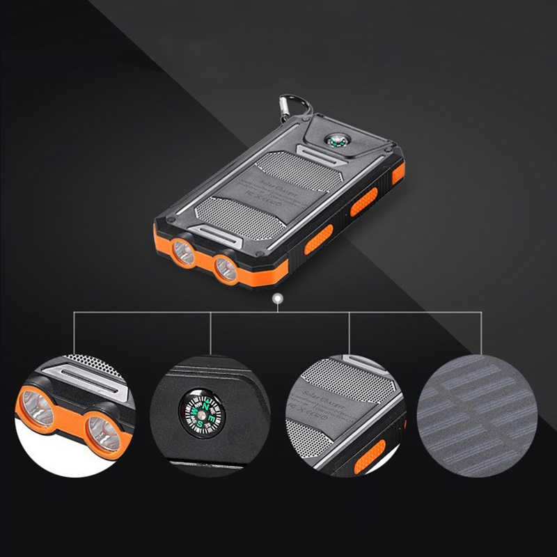 30000 mAh bricolage batterie Portable solaire boîtier électrique charge étanche Powerbank Smartphone 2 lumière LED Portable en plein air (pas de batterie)