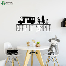 YOYOYU Wall Decal Keep It Simple Adventure Quote Sticker Tree Car Pattern Trip Expedition Removable Interior Decor ArtCT627