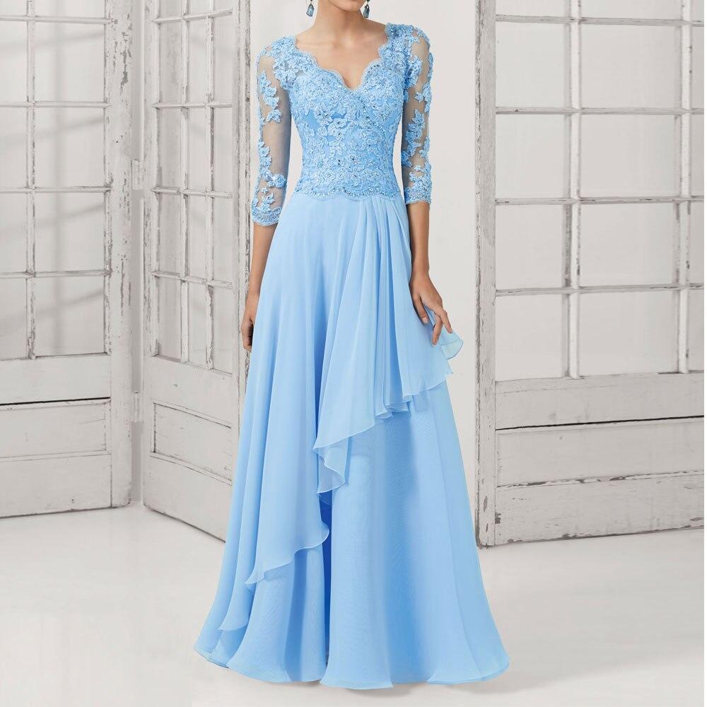 2016 New Lace Long Design Formal Pearl Elegant V-Neck Plus Size Party Vestidos Longo Evening Gown Chiffon Prom Dress Black Blue