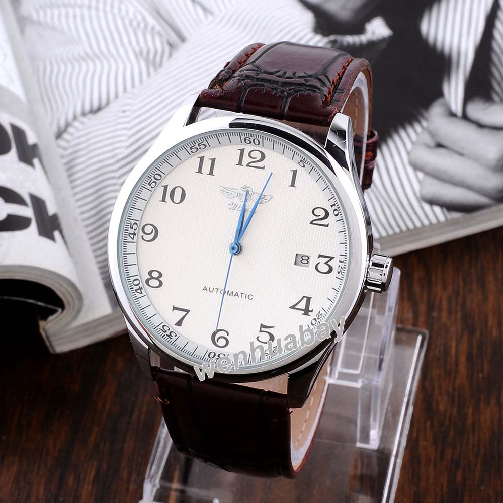 Men's Mechanical Watch Skeleton White Date Dial Stainless Steel Case Analog Brown Leather Strap Men Wrist Watches Gifts