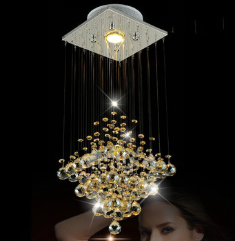 Modern Luxury Chandelier Lighting Fixture Hanging Cord Pendant Lamps Amber Crystal Luminaire For Entrance way,Aisle ,Corridor