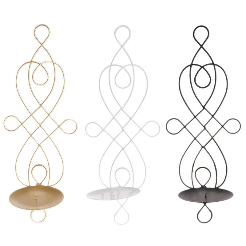 Metal Iron Candlestick Hanging Wall Sconce Meticulous Candle Holder Home Decor Ornaments Wedding Decoration Stand image