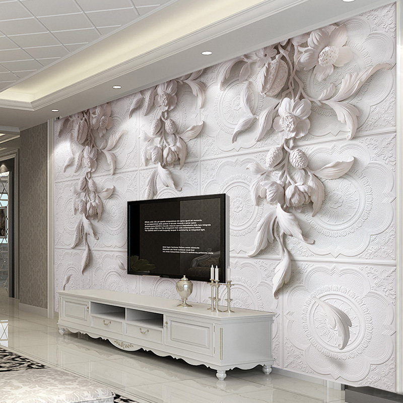 Custom Wall Painting European Style 3D Stereoscopic Relief Flower Living Room TV Background Home Decor Wallpaper Wall Covering