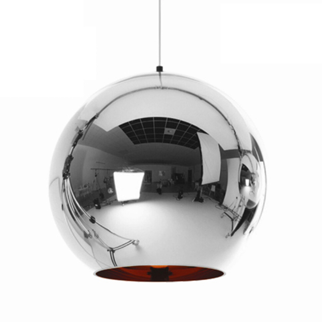 Modern Mini Globe Pendant Light, 1 Light in Copper Plated Glass Globe Shade+LED 5W bulb AC 110 220V