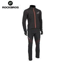 ROCKBROS Winter Thermal Fleece Pants Jersey Windproof Reflective Climbing Jacket Trouser Sportswear Bicycle Suits Hiking Sets недорого