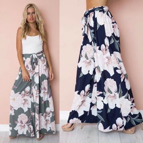 Women Summer Boho Floral Lace Up Long Trousers Palazzo Baggy Wide Leg Summer Casual  Trousers